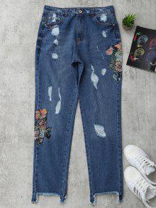 Jeans Brodés Floraux à Boutons Coupés - Denim Bleu S