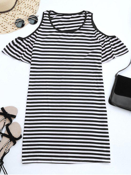 latest Cold Shoulder Striped T-shirt Dress - BLACK XL
