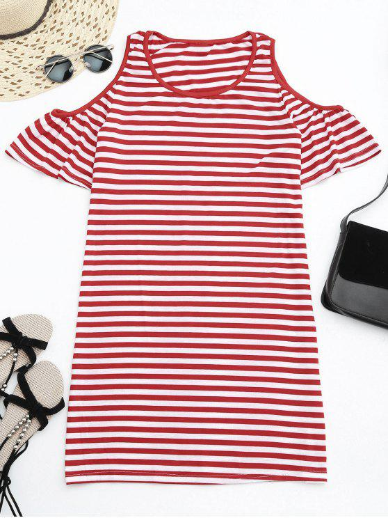 chic Cold Shoulder Striped T-shirt Dress - RED M