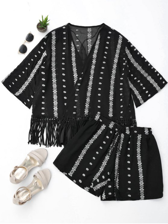 outfits Embroidered Fringe Kimono Blouse with Cami Tank Top and Shorts - BLACK M