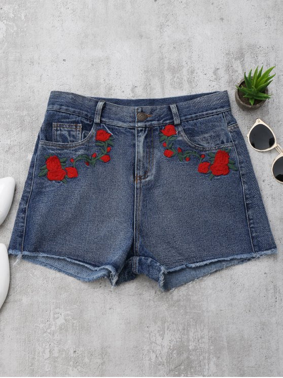 latest Cutoffs Rose Embroidered Denim Shorts - DENIM BLUE M