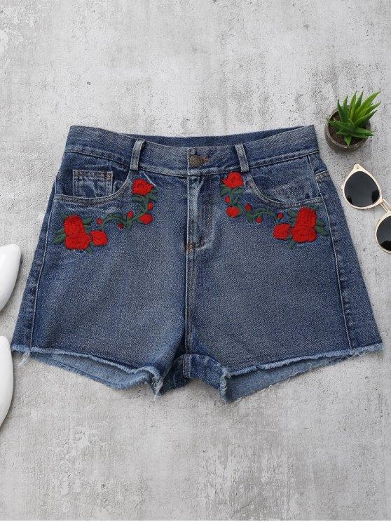 trendy Cutoffs Rose Embroidered Denim Shorts - DENIM BLUE S