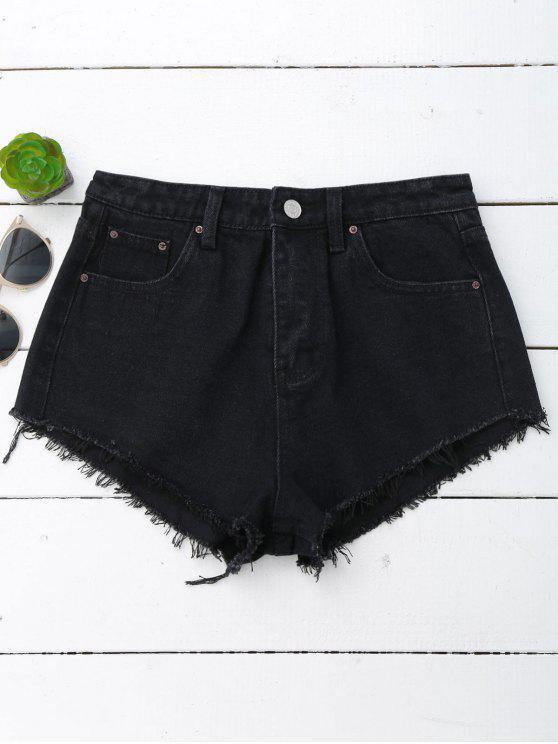 fashion Denim Cutoffs Mini Shorts - BLACK L