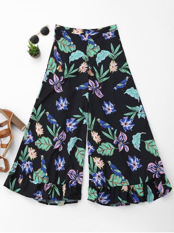 Pantalon Floral à Jambes Larges Volantées - Floral M