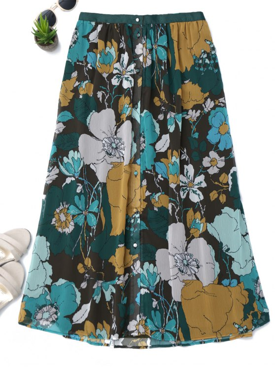 best Button Up Floral A-Line Skirt - FLORAL XS