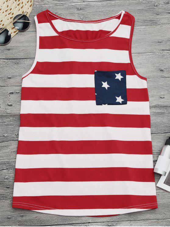 shop Bowknot Racerback American Flag Tank Top - COLORMIX M