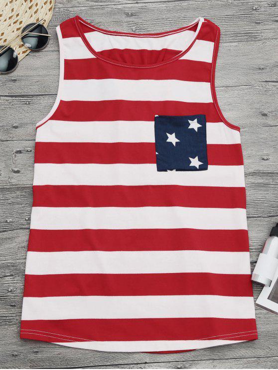 shops Bowknot Racerback American Flag Tank Top - COLORMIX S