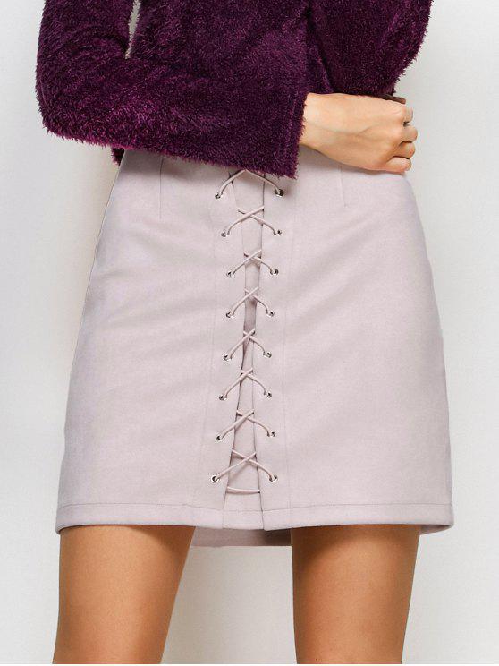 Con cordones de Bodycon de la falda - Rosado Claro L