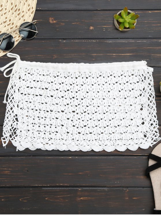 online Crochet Mini Beach Cover Up Skirt - WHITE ONE SIZE