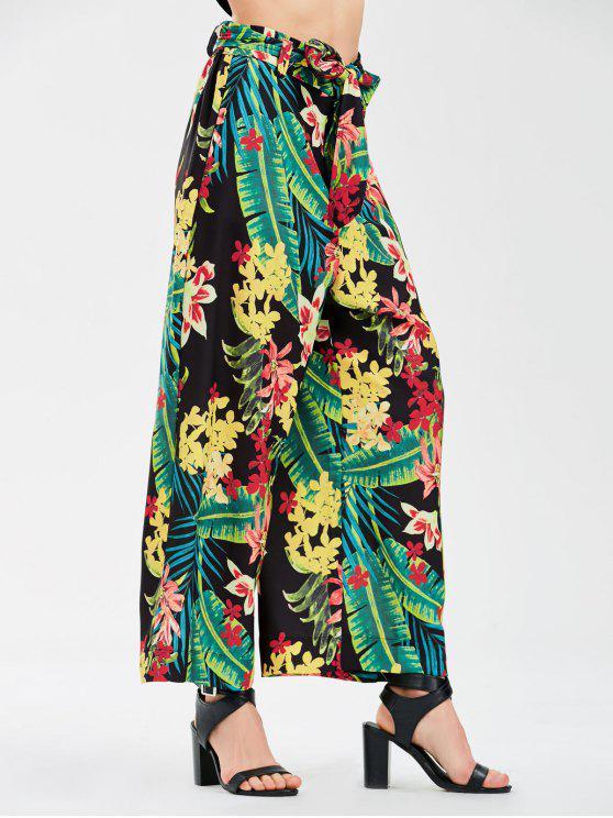 Pantalones de pierna anchos florales con correa de corbata - Floral S