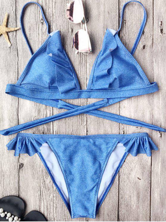 Conjunto de bikini con cordones de gelatina - Azul S