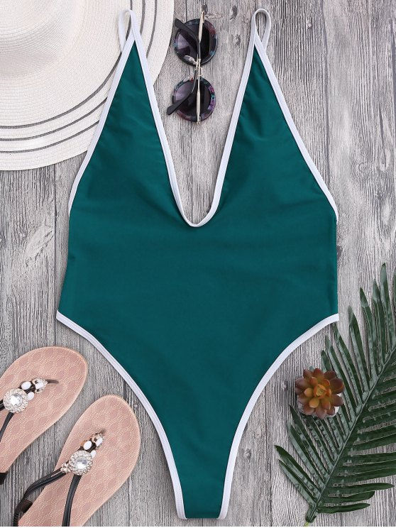 trendy High Cut Piping Plunging Neck Swimwear - BLUE GREEN M