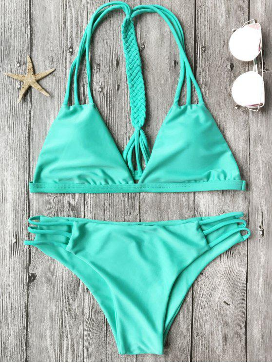 buy Macrame T Back Strappy Bikini Set - TURQUOISE S