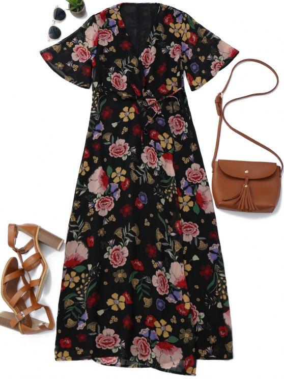 Floral Wrap A Line Maxi Dress - Floral L