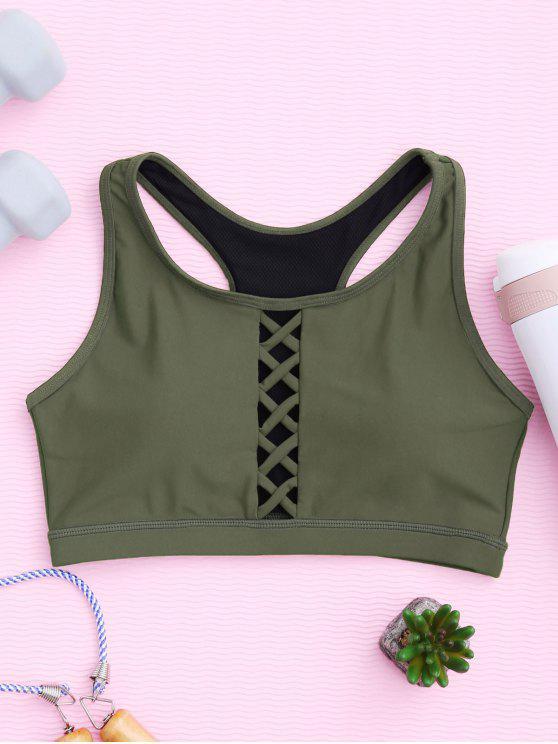 shop Padded Racerback Lace Up Sporty Bra - ARMY GREEN L
