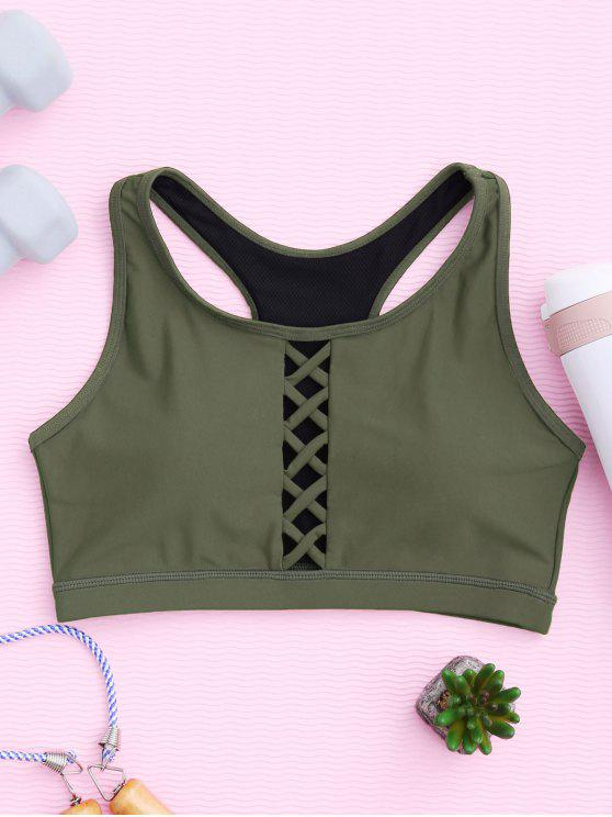 shops Padded Racerback Lace Up Sporty Bra - ARMY GREEN M