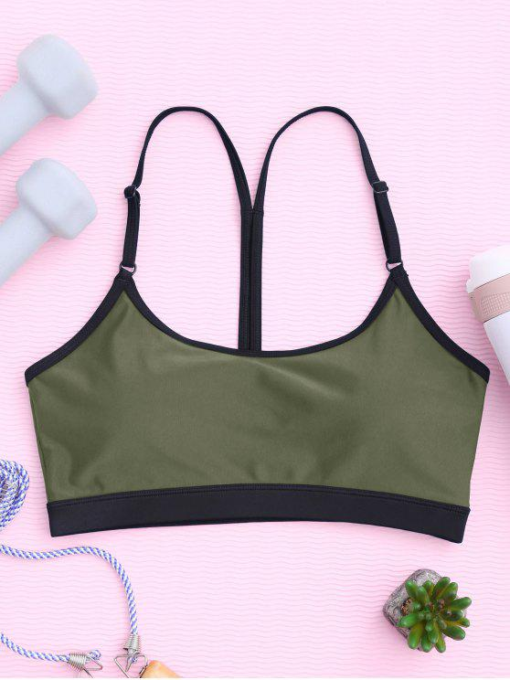 shop Padded Y Back Strappy Sporty Bra - ARMY GREEN M