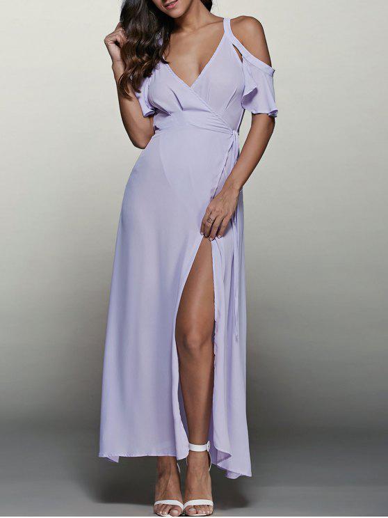 sale High Furcal Wrap Sexy Prom Dress - LIGHT PURPLE S