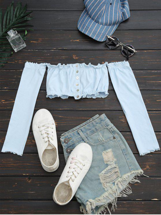 Top croppé embelli bouton aux épaules dénudées - Bleu clair Taille Unique