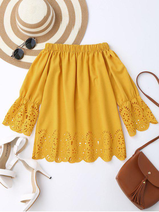 hot Off The Shoulder Laser Cut Top - YELLOW L