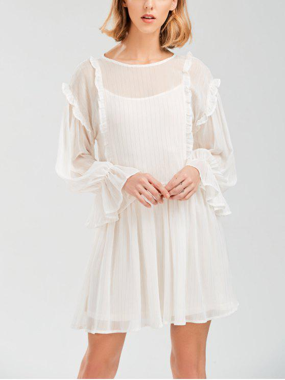 fashion Sheer Flare Sleeve Dress With Golden Thread - WHITE S