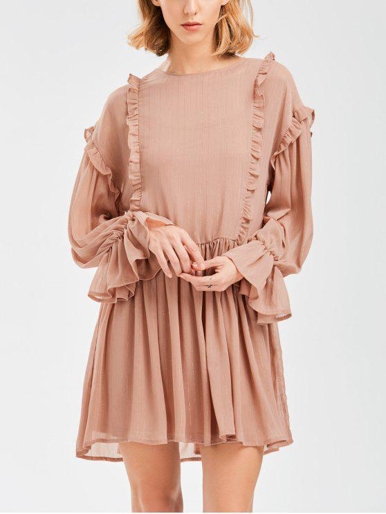 fancy Sheer Flare Sleeve Dress With Golden Thread - NUDE PINK M