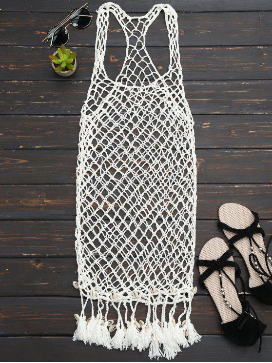 Seashell Fringe Crochet Cubrir Hasta Vestido - Blancuzco Única Talla