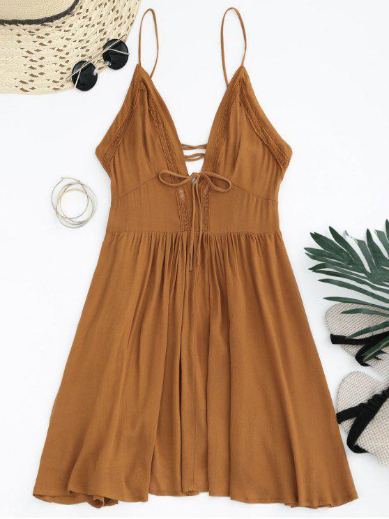 shop Plunge Low Back Lace Up Sundress - LIGHT BROWN L