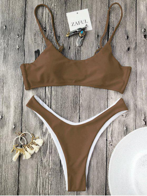 women's Cami Padded Thong Bathing Suit - COFFEE S