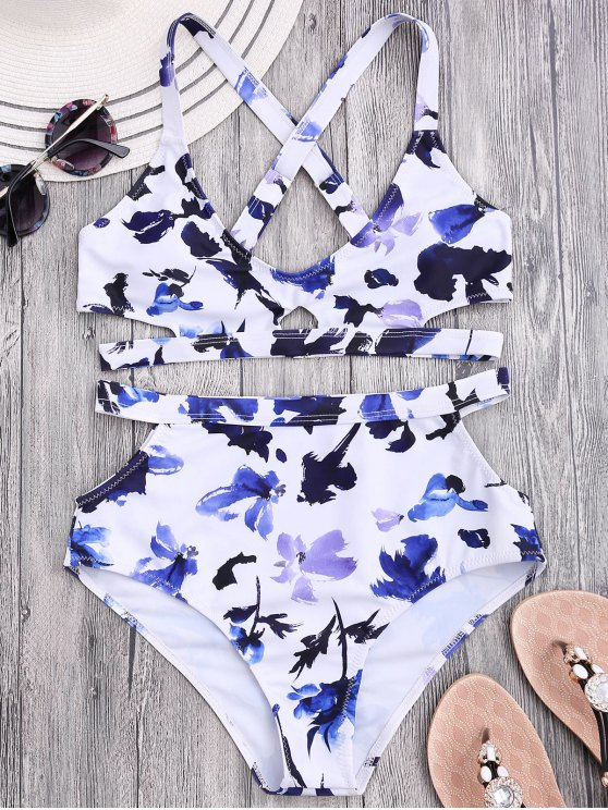 best Floral Cut Out Bandage High Waisted Bikini - WHITE M