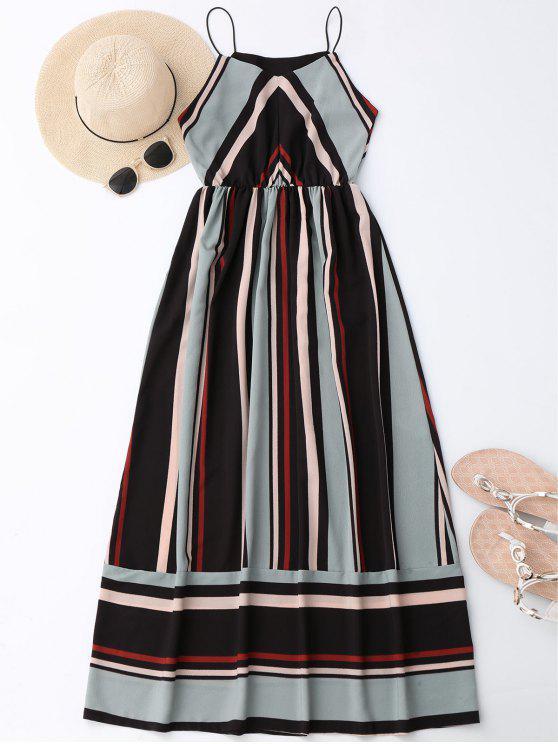 women Maxi Holiday Sundress With Stripes - LIGHT BLUE XL