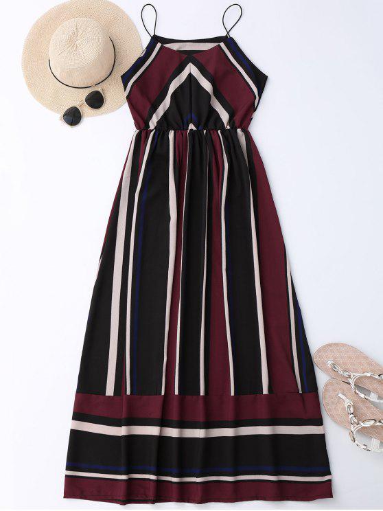 Maxi Vestido de Sol de Vacación a Rayas - Vino Rojo XL