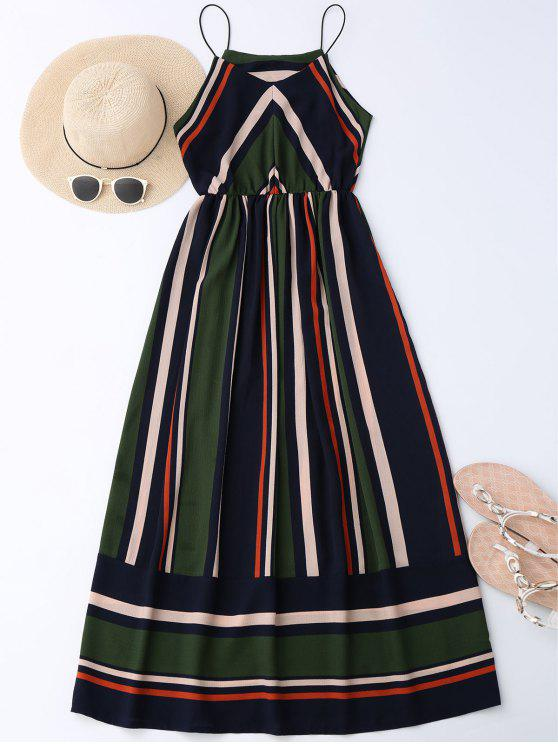 chic Maxi Holiday Sundress With Stripes - BLACKISH GREEN L