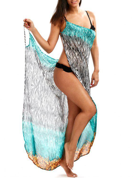 Vestido Encubierto con Pintura de Cebra con Escote Pronunciado en Espalda - Colormix 2XL