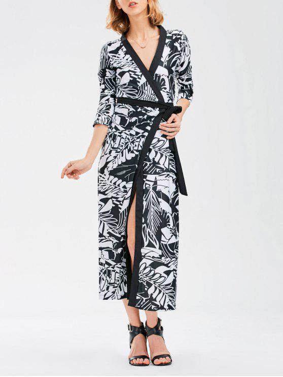 البوهيمي التفاف فستان ماكسي مع اللوحة الصينية - Colormix L