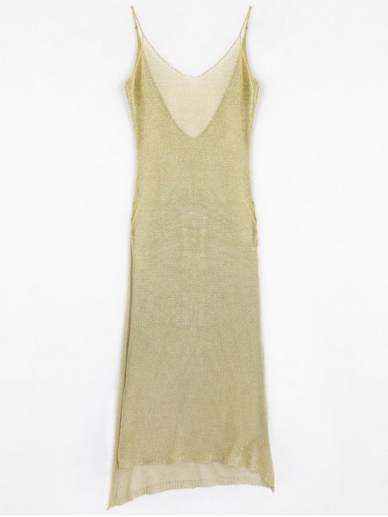 sale High Slit Cami Maxi Cover Up - GOLDEN ONE SIZE