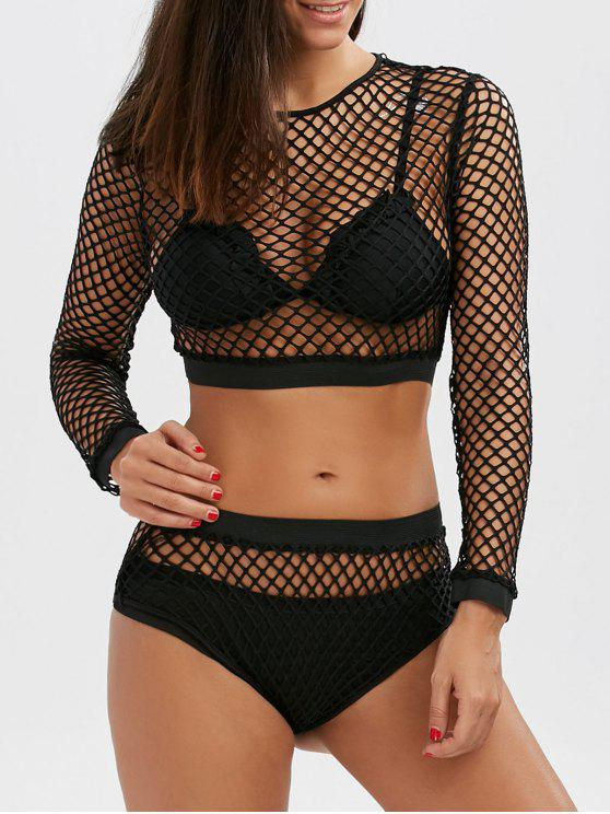 Fishnet de manga larga de cosecha Top y Briefs - Negro S