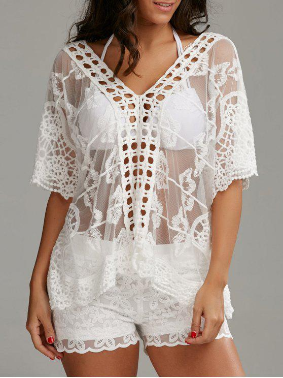 ladies Oversized V Neck Embroidered Top with Shorts - WHITE L