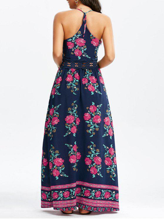 الأزهار طباعة زلة فستان ماكسي - الأرجواني الأزرق XL
