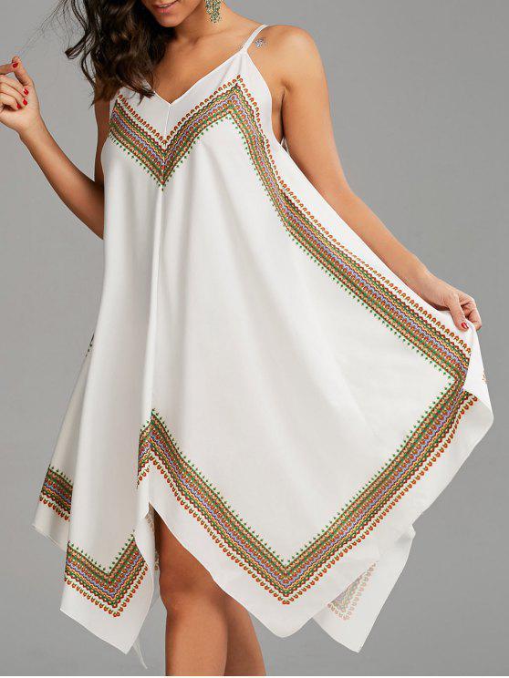فستان مثير منديل طباعة بوهو - أبيض S