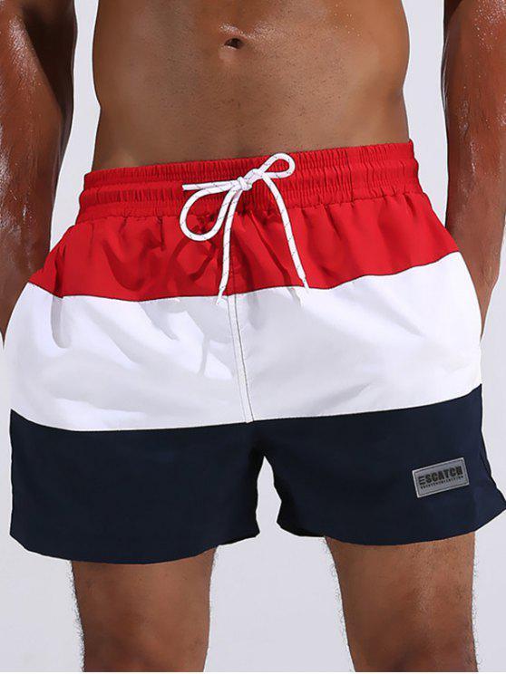 Shorts de Playa de Diseño de Pedazo con Color Bloque con Cordón - Rojo XL