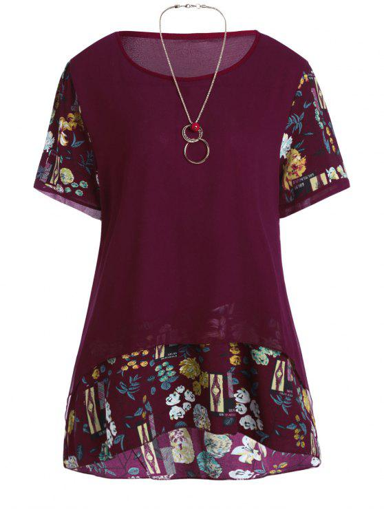 afbaf9341c5679 27% OFF] 2019 Plus Size Floral Chiffon Ruffle Top With Chain In DEEP ...