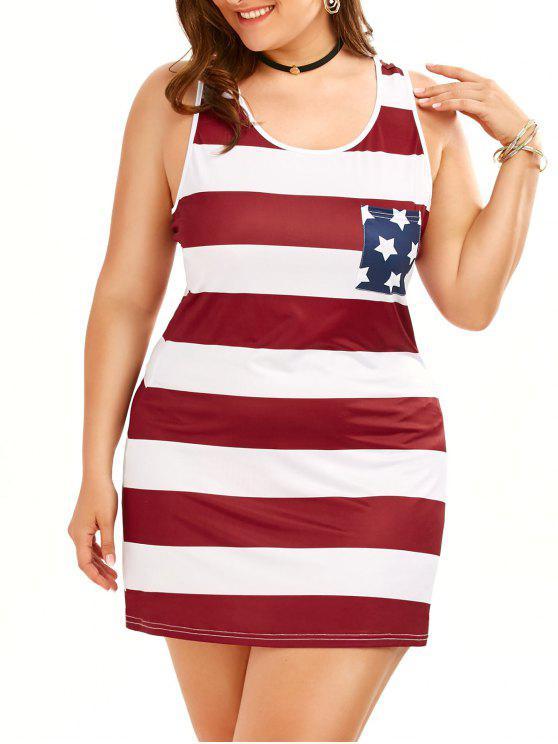 زائد حجم أكمام تانك الأمريكية العلم اللباس - Colormix 5XL