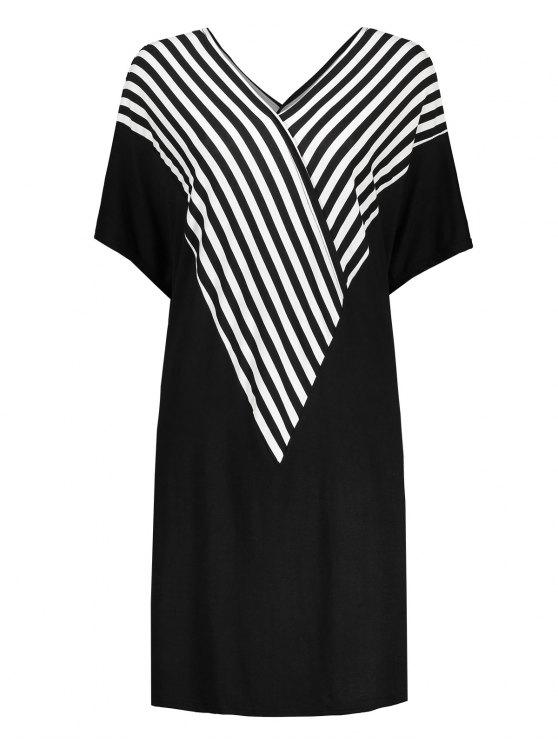 Plus Size Stripe Dolman Sleeve V Neck Tee Dress Black Plus Size