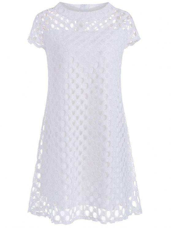 فستان توهج الحجم الكبير - أبيض 4XL