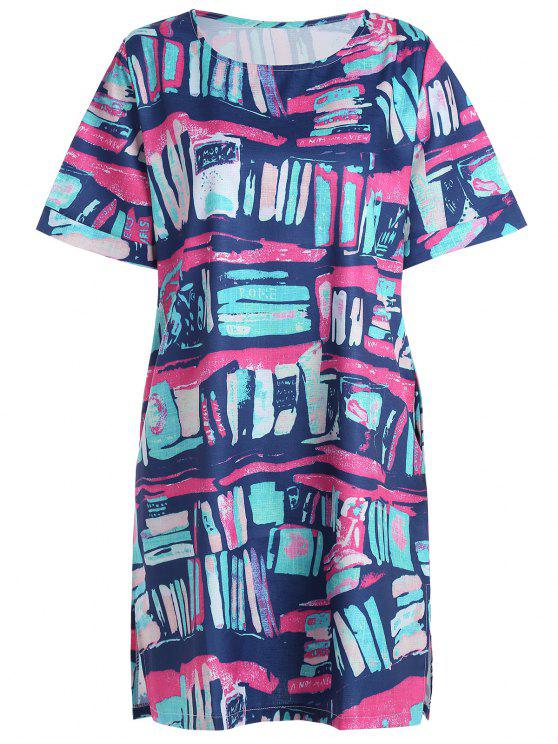 Plus Size Colorful Graffiti T-shirt Dress with Pockets MULTICOLOR