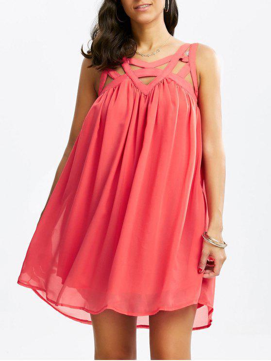 قفص قطع أكمام الشيفون اللباس - البطيخ الأحمر L
