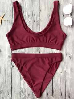 Hoher Schnitt Rundhalsausschnitt Bikini Set - Burgund S
