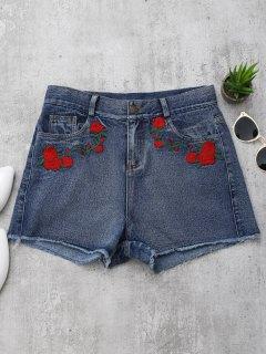 Cutoffs Rosegestickte Denim Shorts - Denim Blau Xl