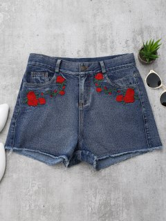 Cutoffs Rose Embroidered Denim Shorts - Denim Blue L